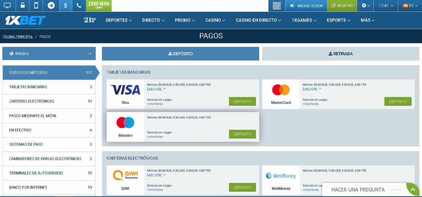 1xBet payments methods